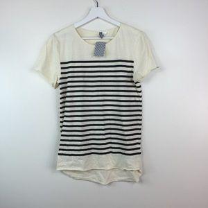 H&M hi low striped shirt